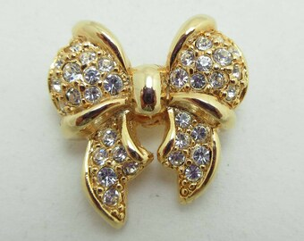 Givenchy Brooch Pin Pave Set Gold Tone Rhinestones Bow Small  9077