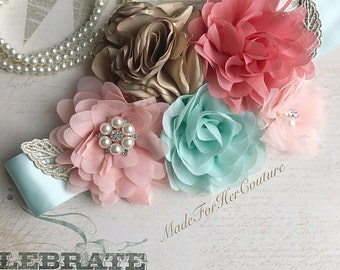 Coral Mint Peach & Gold Flower Sash, Wedding Sash, Bridal Flower Sash Belt, Maternity Sash, Maternity Belt, Maternity Dress Sash, Rustic Sas