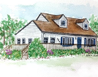 Custom Home House Portrait Painting