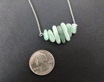 Hypoallergenic Necklace - Aventurine gradiated statement necklace pyramid natural stone