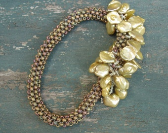 Golden Summer Snowflakes Beadwoven Bangle Bracelet