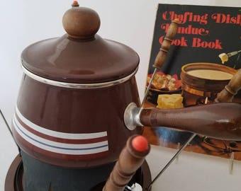 Vintage Enamel Fondue Pot Never Used w/ Book