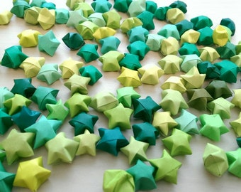 100 Assorted Green Origami Stars