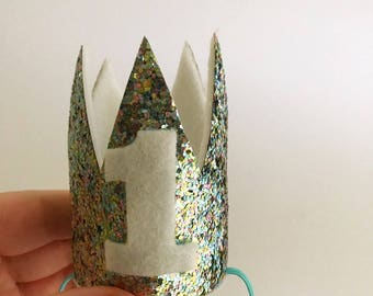 SALE - Birthday Mini Crown Mermaid- Cake Smash Crown - Crown Headband - Birthday Crown - Princess Crown - Silver Birthday Crown Item #054