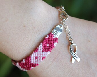 Breast cancer awareness bracelet, Cancer survivor jewelry, Pink ribbon charm, Hope bracelet, Protection amulet, Cotton fiber fuchsia gift