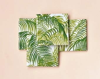 Palm Leaves Coasters Botanical Tropical Jungle Ceramic Coasters Tile Drink Coasters Green on White Pantone 2017 Greenery