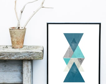 Blue Triangle Print, Printable Art, Geometric Art, Scandinavian Art,  Geometric Wall Art, Abstract Art , Wall Decor, Digital Download