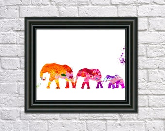 Elephants Print Fine Art Children's Animal Wall Art Home Decor