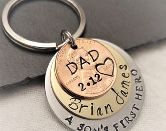 Personalized Dad Key Chain, A Son's First Hero Key Chain, Dad Gift,Gift for Dad,Dad Keychain,Father's Day Gift,Penny Key Chain, Gift for Him
