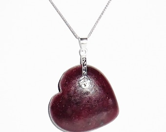 "CERTIFIED 96ct Heart Red Ruby gemstone, 14kt SOLID White gold 18"" Wheat Chain, Pendant, Necklace"