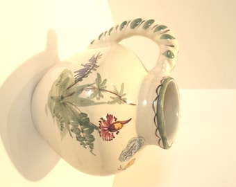Vintage Ulmer Keramik Hand Painted Floral Creamer or Pitcher Made in Germany presented by Donellensvintage