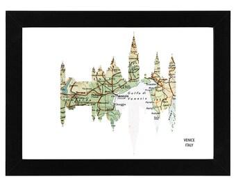 Venice City Italy Skyline Print with vintage map