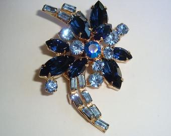 Vintage Shades of Blue Rhinestone Brooch
