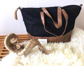 Black linen and camel faux reptile personalized travel bag