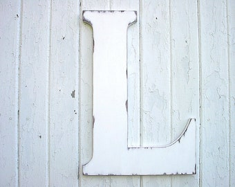 """Wedding Guest Books alternatives 24"""" Letters L White Shabby Chic Vintage Style"""