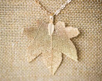 Maple Leaf Necklace (real leaf!)