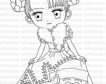 Christmas Digi Stamp-My Christmas Dress, Winter Digital Stamp,  Printable Line art for Card, Art by Mi Ran Jung