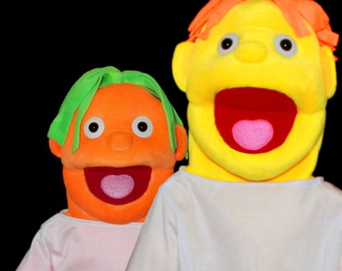 """Black light puppets. Two Large 30"""" Full/Half Body Puppets w/ 3 Changeable Wigs. Professional Puppets for use with blacklight or daylight."""