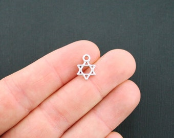 20 Star of David Charms Antique Silver Tone 2 Sided Small Size - SC2466