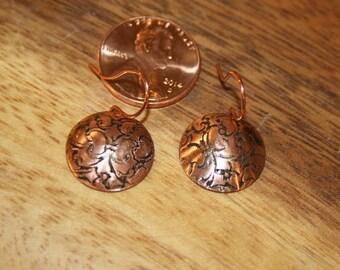 Copper round Earrings embossed copper Butterflies earrings