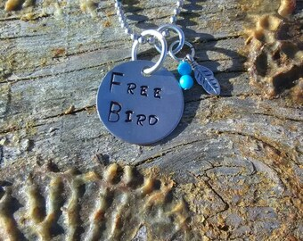 Free Bird hand stamped pendant. Your choice of either Necklace or Keychain