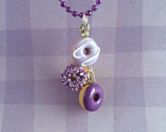 Cute mini donut necklace - purple collection - bakery charms