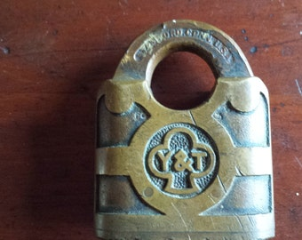 Antique Brass Yale & Towne Mfg Co. Lock with No Key