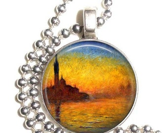 Venice at Dusk 1908 Claude Monet Art, Sea at Twilight Art Pendant, Earrings and/or Keychain, Round Photo Silver and Resin Charm Jewelry