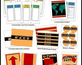 Amazing Race Party Printables -- DIGITAL -- Customizable clue cards and invitations, flags, signs, and more!
