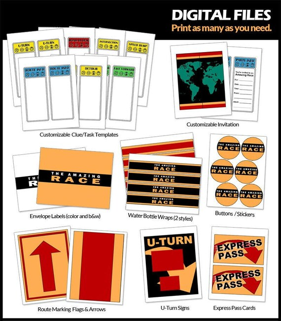 amazing race party printables digital customizable clue