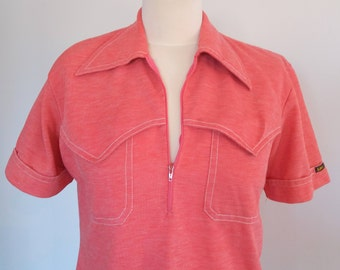Vintage 1970s LEE Shirt, Zipped Polo Shirt, Zip Neck T-Shirt, Size M