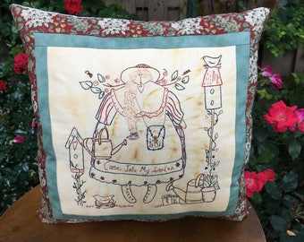 Embroidered Garden Angel Pillow - Hand Embroidered - Garden Room Accent - Farmhouse Decor - Country Room Display - Decorative Pillow