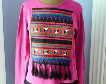 Upcycled Appliqued Long-Sleeved T-Shirt - Vintage Quilted Panel w/ Tassels - Gently Worn Chico's Purple Tee - Recycled - OOAK - Boho