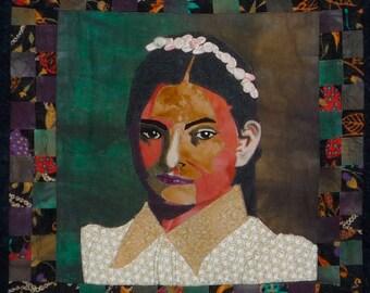 Portrait Quilt Wall Hanging Art Quilt Custom Made OOAK