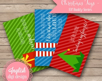 Printable Christmas Tags - Elf Buddy - INSTANT DOWNLOAD