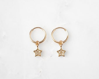 Tiny CZ Star Hoop Earrings   gold star earrings,silver star earrings,huggie star cuffs,north star earrings,north star hoops,small star hoops