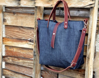 Denim Tote with Leather Handles and Detachable Leather Strap- Diaper Bag- Weekender