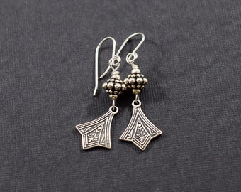 Small Art Deco Sterling Silver Ox Plate Earrings, Silver Earrings, Art Deco Earrings, Small Earrings, Artisan Earrings, Handmade,  E030