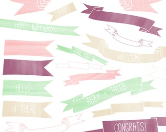 CLIP ART: Watercolor Ribbon // Instant Download // Beautiful Hand drawn, hand painted ribbon banners // DIY Teachers