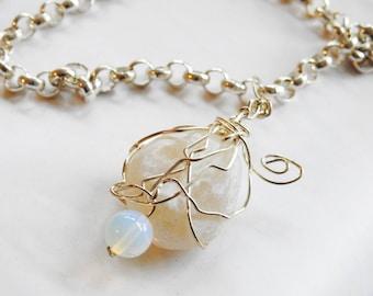Alaskan Moonstone Necklace, Opalite Pendant, Wirewrapped Moonstone, Silver Statement Necklace, Lucky Sea Glass, Opalite Pendant
