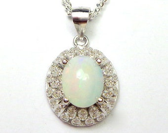 Natural Opal Necklace, Sterling Silver Setting, CZ Halo Accents, Ethiopian Welo Opal, Awesome Color Play, Peach, Green, Yellow,  OOAK