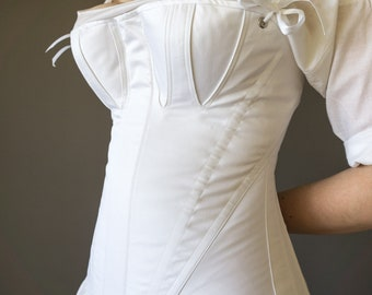 1830's Stays in White Cotton Sateen, Early 19th Century Corset - Ready to Ship Standard Sizes XS-XXL