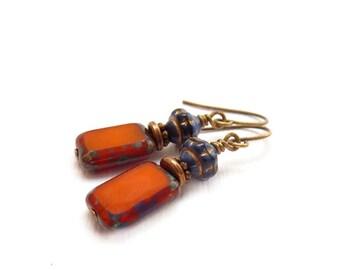 Orange Beaded Earrings - Colorful Petite Dangles - Picasso Rectangle Glass - Simple Bohemian Drop Earrings