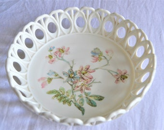 MILKGLASS FLORAL BOWL Challinor Taylor Pink Blue Floral Candy Dish Serving Bowl