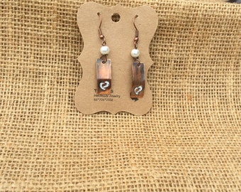 Patina Heart Stamped Earrings