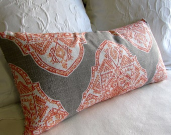 MALTA APRICOT  designer fabric accent lumbar Bolster Pillow 12x26 insert included