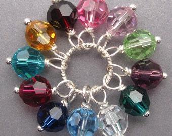 Swarovski Birthstone Charms, Wine Charms, Stitch Markers, Bracelet Charms, Interchangeable Earrings Jewelry, 6mm Swarovski Crystal Beads