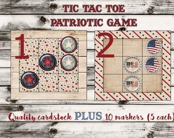 Tic Tac Toe game, Tic Tac Toe Patriotic Game, Patriotic Party Game, Tic Tac Toe July 4th, 4th of July Patriotic Game. Sets of 10