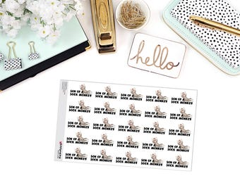 """SNARK SERIES: """"Son of a Sock Monkey"""" Paper Planner Stickers!"""