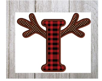 Antler Letter I, Deer Hunting, Thanksgiving, Christmas Reindeer, Machine Embroidery Design, 3 Sizes